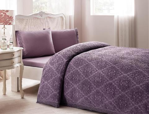 Покрывало махровое 2-спальное Tivolyo home LA PERLA 220х240 см фиолетовое