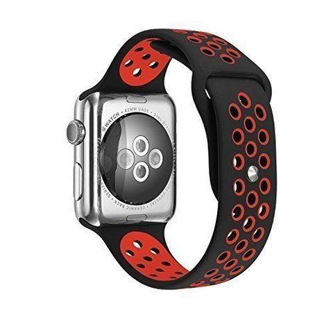 Ремешок Apple watch 42/44mm Sport Nike /black red/ черный красный