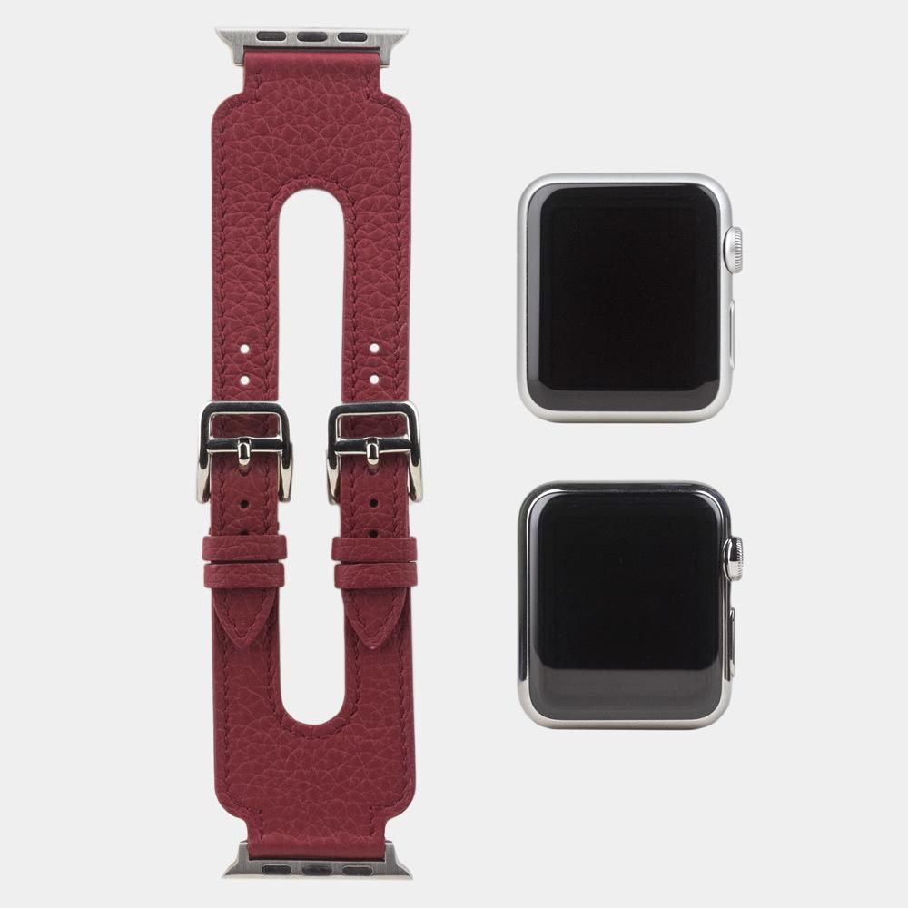 Ремешок для Apple Watch 42мм ST Double Buckle из натуральной кожи теленка, вишневого цвета