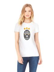 Футболка с принтом FC Juventus (ФК Ювентус) белая w001