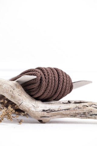 Хлопковый плетеный шнур коричневый 5 мм