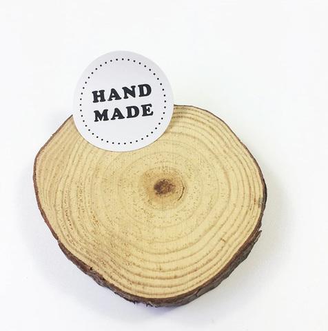 Наклейка круглая Handmade, белая 4 шт