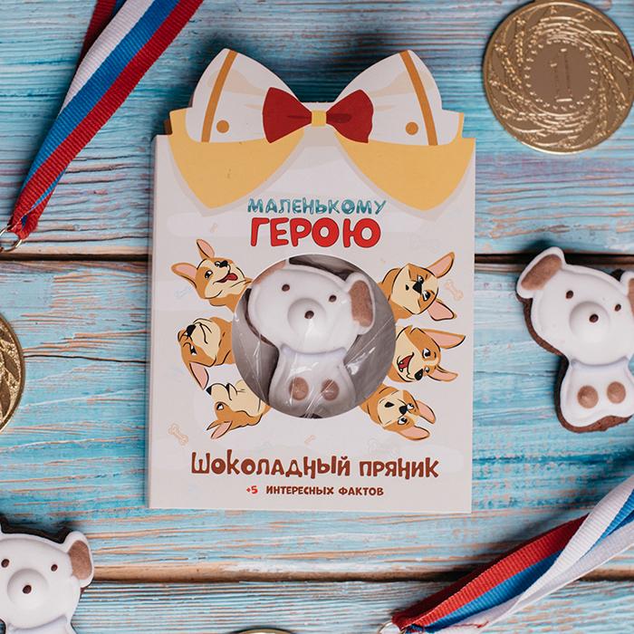Маленькому герою. Купить открытку с шоколадным пряником в подарок Пермь