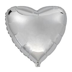 Воздушный шар Сердце 44см (Серебряное)
