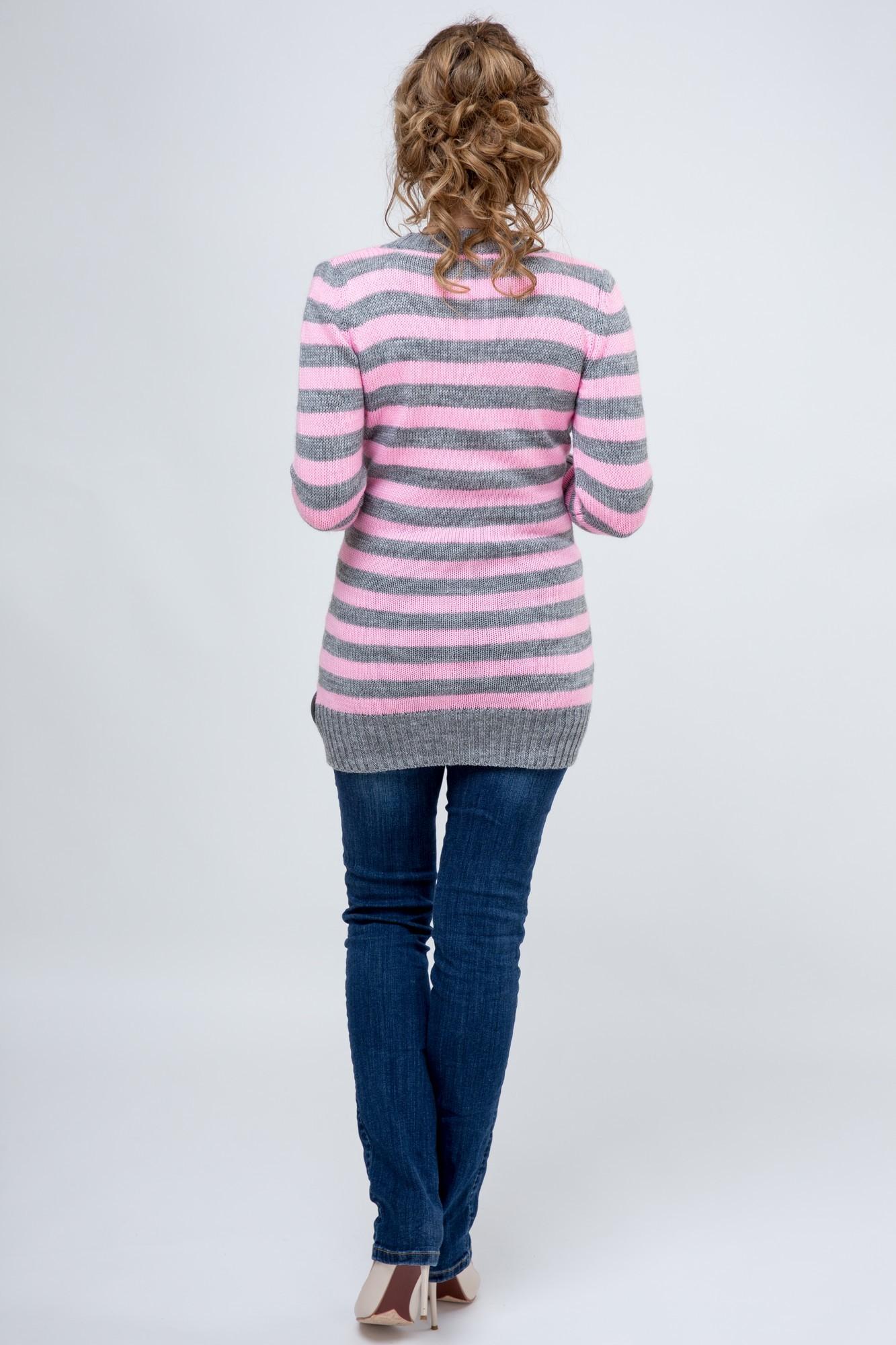 Туника для беременных 09066 розовый-серый