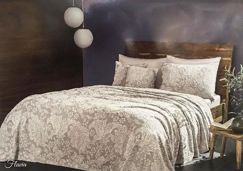 Покрывало махровое пике1.5-спальное Tivolyo home FLAVIA 160х220 см серое