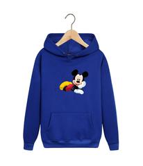 Толстовка синяя с капюшоном (худи, кенгуру) и принтом Микки Маус (Mickey Mouse) 001