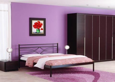 Кровать двуспальная Мираж металлическая 160х200 коричневый бархат
