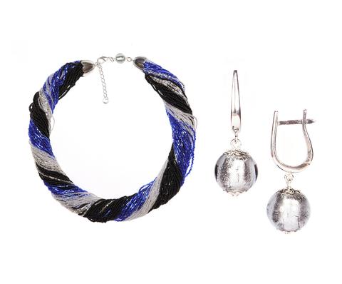 Комплект украшений черно-синий (серьги-бусины, ожерелье из бисера 48 нитей)