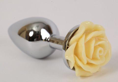 Серебристая анальная пробка с жёлтой розой - 8 см.