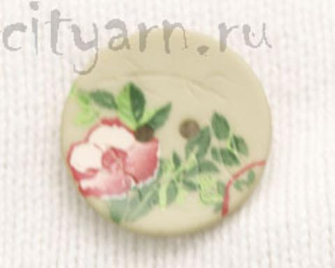 Пуговица с цветком шиповника, светло-зелёная, 23 мм
