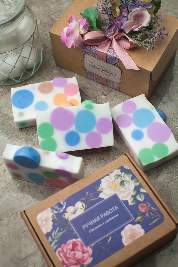 Этиклейка на упаковку для мыла Пейсли Розовый