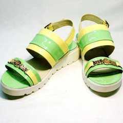Сандалии женские кожаные босоножки на низком ходу Crisma 784 Yellow Green.