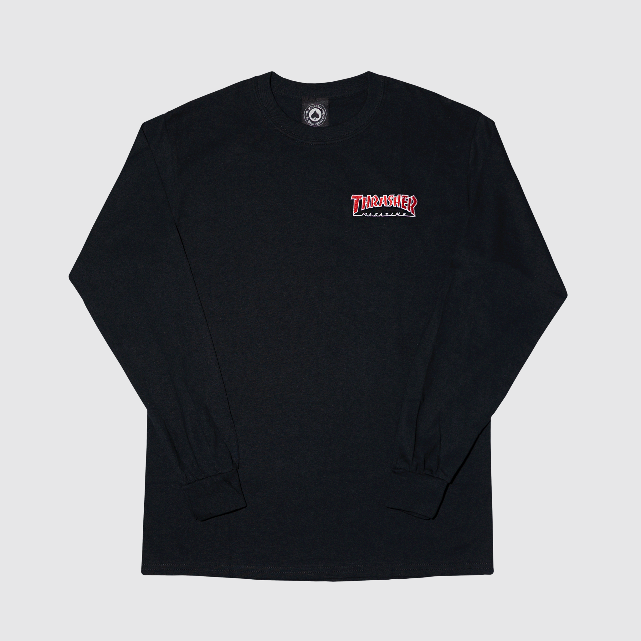 Лонгслив Thrasher embroidered outlined crew black