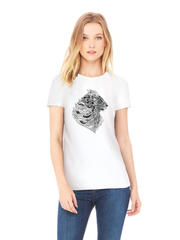 Футболка с принтом Лев (Lion) белая w0010