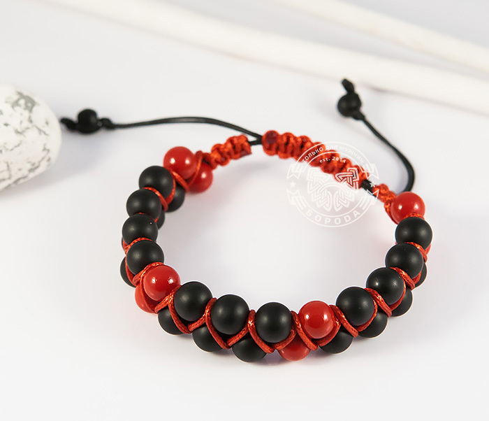 BS713 Двойная мужская шамбала красного цвета из коралла. «Boroda Design» фото 03