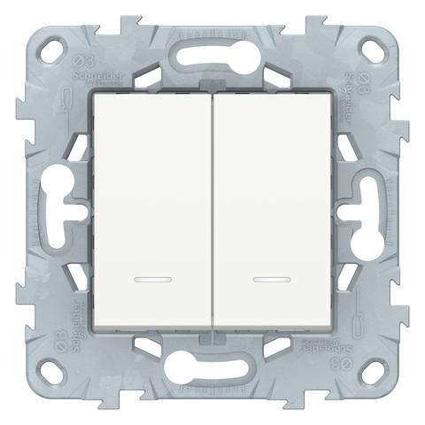 Выключатель двухклавишный с подсветкой. Цвет Белый. Schneider Electric Unica New. NU521118N