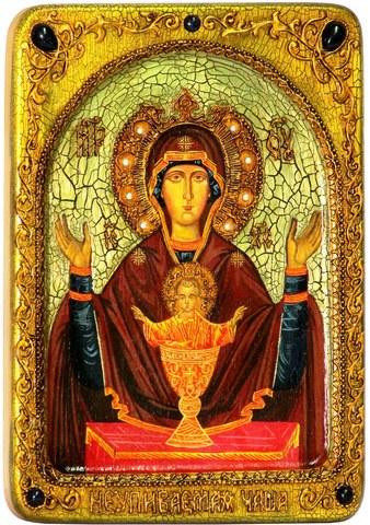Инкрустированная икона Образ Божией Матери Неупиваемая чаша 29х21см на натуральном кипарисе в подарочной коробке