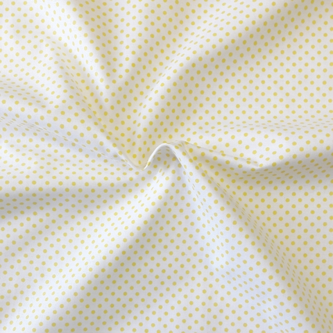 Ткань хлопковая желтые горошки на белом