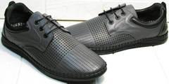 Модные мужские мокасины мокасины с шнурками - туфли летние Ridge Z-430 75-80Gray