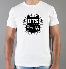 Футболка с принтом BTS (Kpop) белая 002