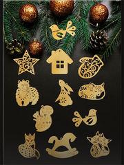 """Елочные игрушки деревянные подвески """"Лесная сказка"""", цвет -  золотой."""