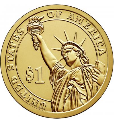 1 доллар 23-й президент США Бенджамен Гаррисон 2012 год