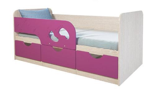 Кровать Минима Лего 1,86 дуб атланта/лиловый сад