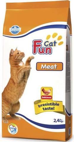 20 кг. FARMINA FUN CAT Сухой корм для взрослых кошек мясной Meat