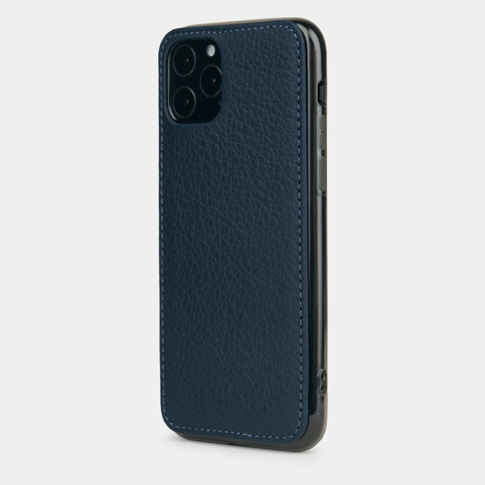 Чехол-накладка для iPhone 11 Pro Max из натуральной кожи теленка, цвета синий мат