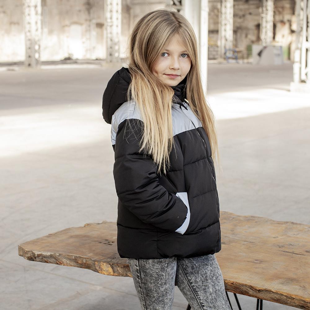 Демісезонна підліткова куртка з світловідбиваючими вставками Grey girl на дівчинку