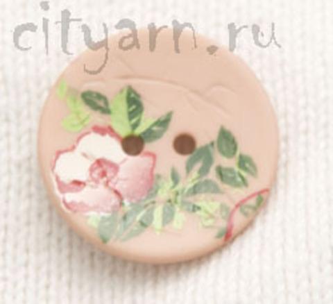 Пуговица с цветком шиповника, нежно-розовая, 23 мм