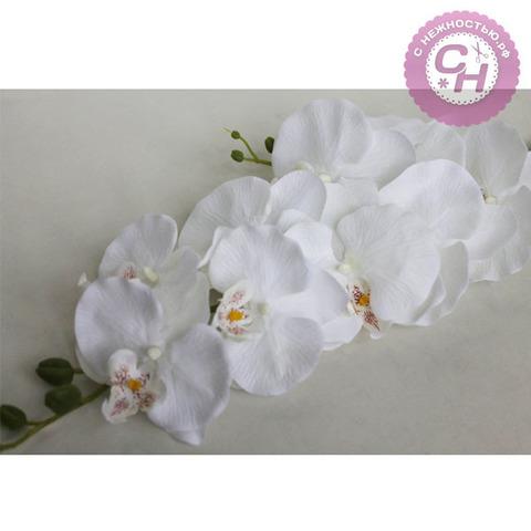 Орхидея искусственная на ветке, бархатная, 9 голов, 104 см.