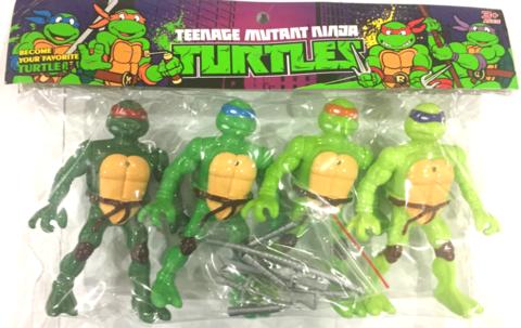 Набор Героев Черепашки 4 героя с оружием в мягкой упаковке, каждый герой со светом (батарейки