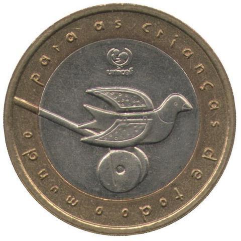 """200 эскудо 1999 год """"ЮНИСЕФ"""" (птичка)"""