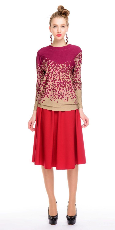 Юбка Б052-503 - Элегантная юбка расклешенная от пояса к низу. Великолепный вариант на каждый день и вечер.