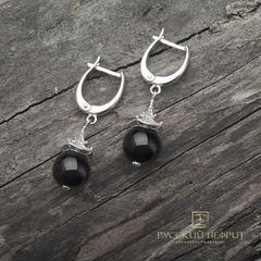 """Серьги  """"Доугун"""" с чёрным нефритом Д 10мм (класс моде)."""