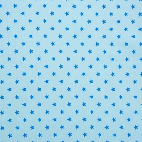 Ткань хлопковая синие звезды  на голубом, отрез 50*80 см