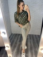 зеленые брюки в полоску купить