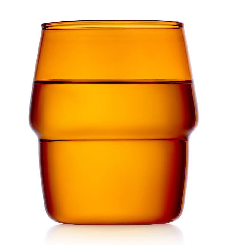Стаканы (двойной стакан) Стакан 350 мл, стеклянный янтарный (оранжевый), прозрачный цветной 020-350y.PNG