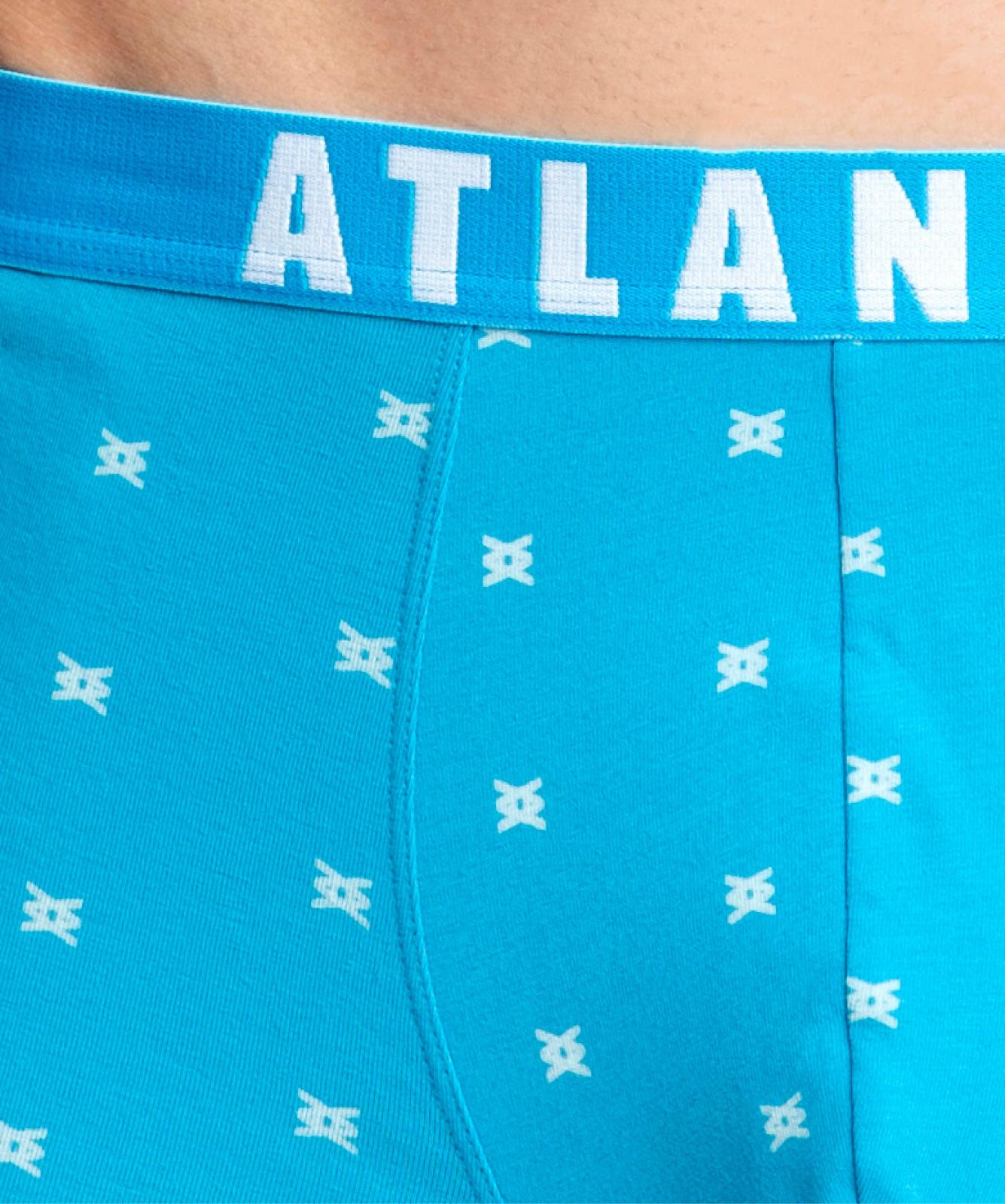 Мужские трусы шорты Atlantic, набор из 3 шт., хлопок, темно-синие + голубые + бирюзовые, 3MH-003