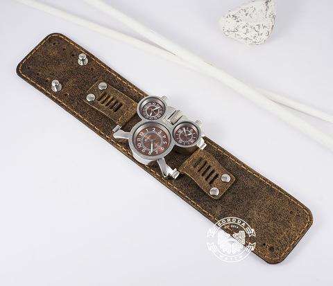 WLS132 Широкий браслет из натуральной кожи ручной работы