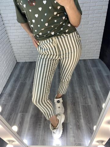 зеленые брюки в полоску недорого