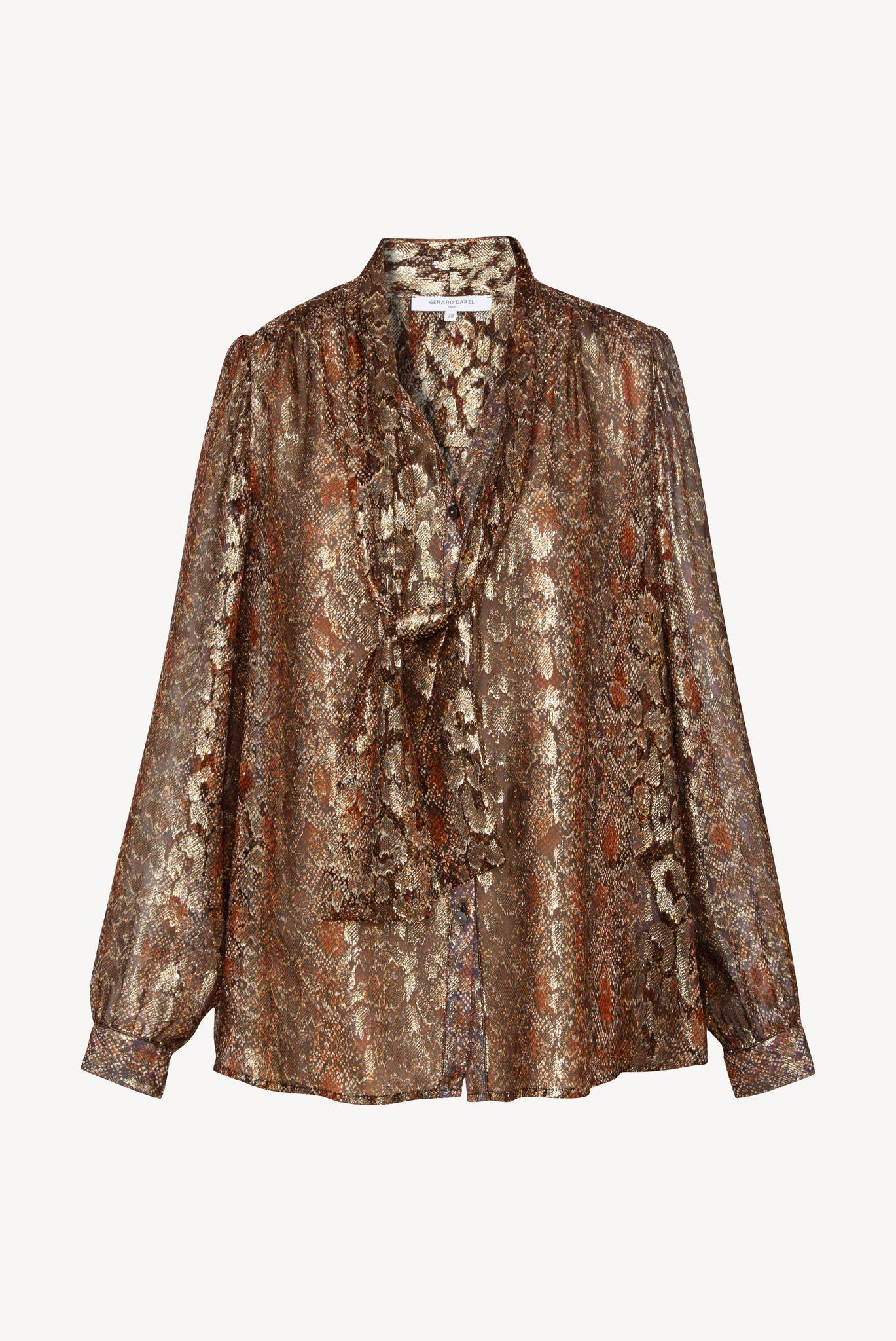 AUREA - Блуза из шелка с жаккардовым анималистичным принтом