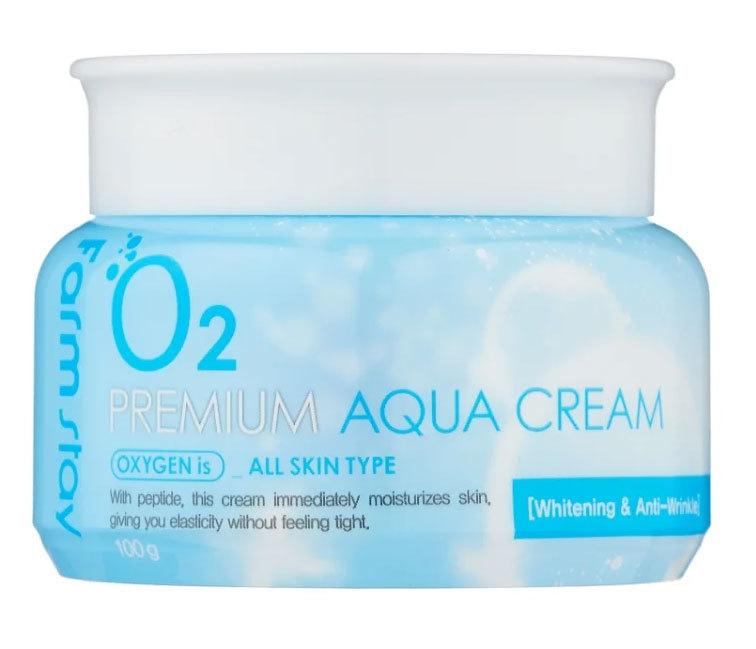 Кремы для лица Крем для лица увлажняющий с кислородом O2 FARMSTAY  Premium Aqua Cream 100 мл 8809480772306.jpg