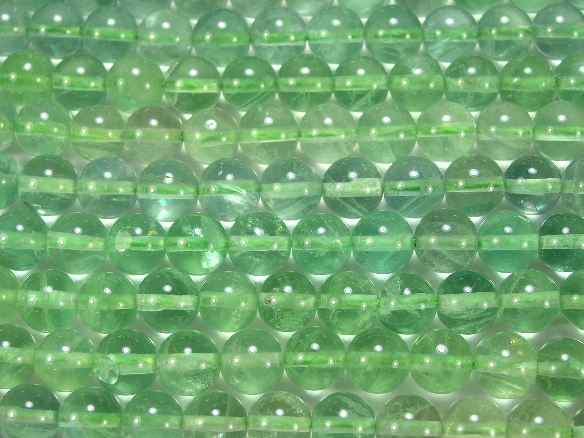 Нить бусин из флюорита зеленого, шар гладкий 8мм