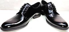 Модельные туфли мужские лаковые Ikoc 2118-6 Patent Black Leather