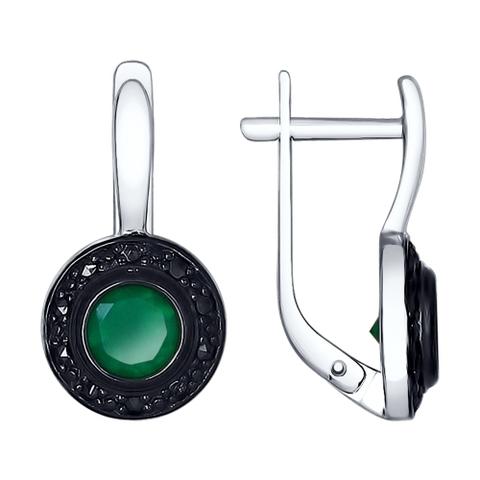 92021545 - Серьги из серебра с темно-зелеными  агатами и марказитами