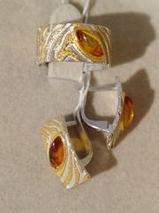 Парча (кольцо + серьги из серебра)