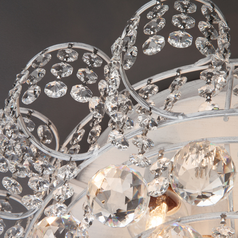 Потолочная люстра с хрусталем 16017/9 белый с серебром